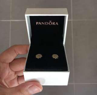 Pandora White Petal Flower Earrings
