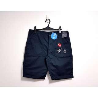 🚚 夏季薄料透氣貼布休閒短褲 NET 深藍色 34腰