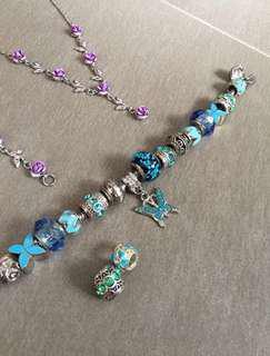 NON AUTHENTIC Pandora Sapphire Blue Charms Bracelet FULL SET