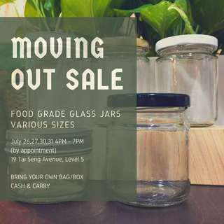 VARIOUS GLASS JARS - MOVING OUT SALE