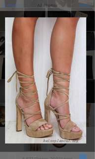 Windsor smith mixer high heels platform lace up size 9 sand beige brown colour suede