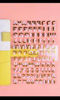 Pink and gold Cut out alphabets