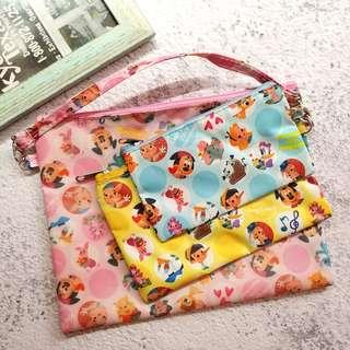 🌟 包平郵 ! 全新 日本雜贈 迪士尼 拉鏈 收納袋 文具袋 一套三個 Disney 卡通人物 大雜燴
