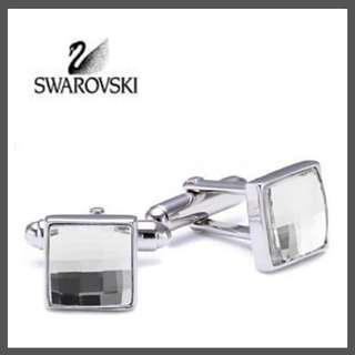 Swarovski Cufflinks #973790 Clear Multi-Faceted Crystal - Excellent Condition - with Box