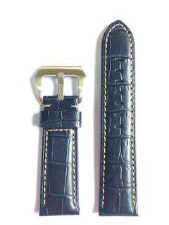 Navy Blue Leather Crocodile Grain Watch Strap