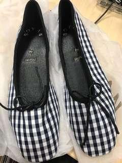 全新 韓貨藍白格平底鞋