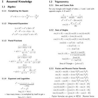 2017 RJC H2 Math Revision/Summary Notes