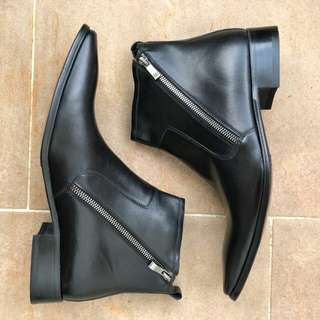 Genuine leather boots dual zippers
