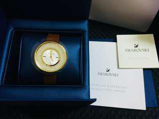 施華洛世奇 swarovski CRYSTALLINE PURE 真皮 水鑽 咖啡 金 手錶 腕錶
