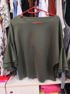 Green ruffled sleeve top