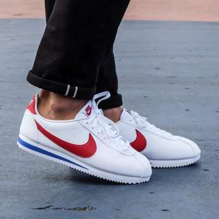 US9.5 Nike Mens Classic Cortez Leather Forrest Gump White Varsity Red