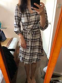 Wrap check dress