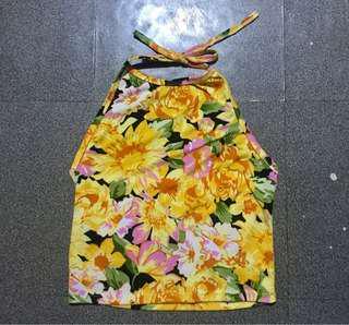 Floral Halter Tie Top
