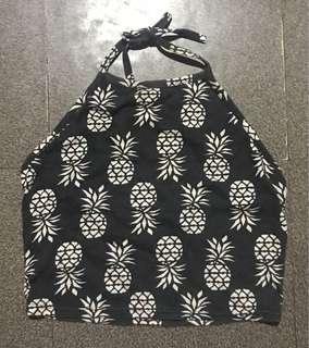 Pineapple Print Halter Tie Top