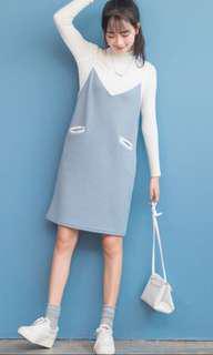 Strap dress(Blue,Pink)