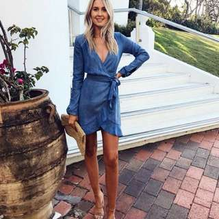 Kookai Becca Wrap Denim Dress Size 40