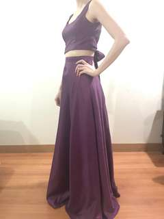 Gown for rent: 2piece purple gown with ribbon
