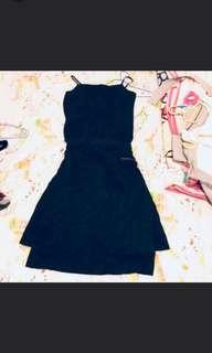 兩件套 綁帶 wrap Dress 斯文裙 black dress 裙 連身裙 黑裙 summer dress