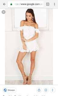 White Lace Off The Shoulder Playsuit
