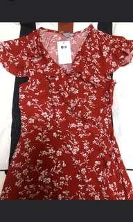 Red 綁帶 蝴蝶結 ribbon wrap 斯文裙 Flora dress 裙 連身裙 渡假裙 summer dress