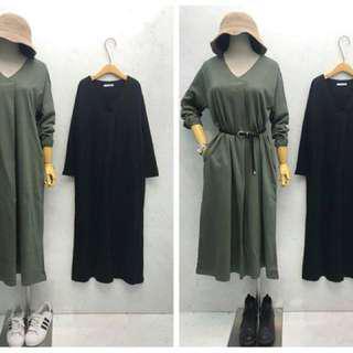 🚚 墨綠洋裝 整套 套裝