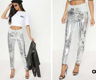 (size 14) PLT sequins mom jeans