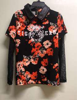 Floral Fashion Laced Long Sleeve Blouse