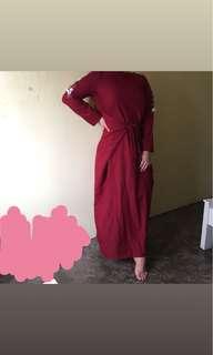 Maroon Jubah Tie Front Dress