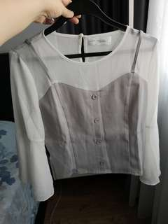 Mayuki Taiwan Grey & white long sleeve top