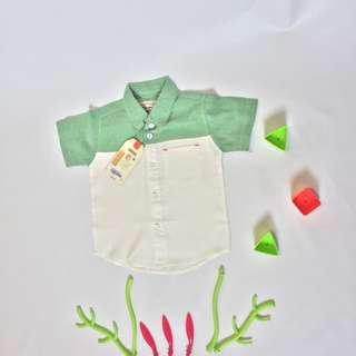 Kemeja Anak 2 Tone ( Green and White )