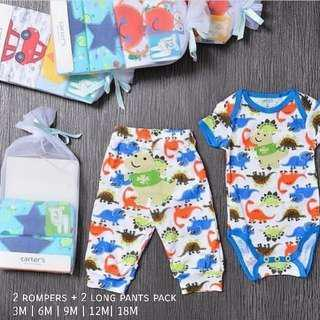 🚚 4pcs Baby rompers with long pants set