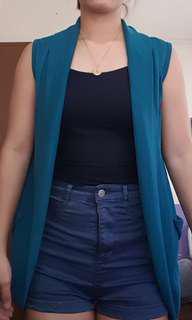 Soft Sleeveless blazer -Blue green