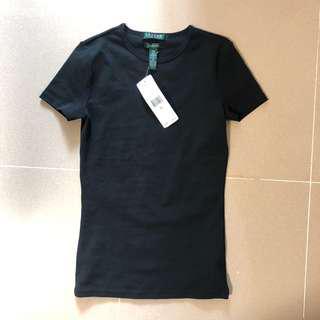 Ralph Lauren black ladies women's tee slim cotton