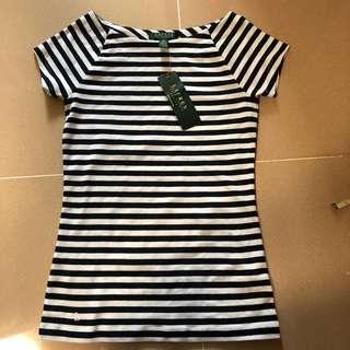 Ralph Lauren navy blue white ladies women's tee slim cotton stripe