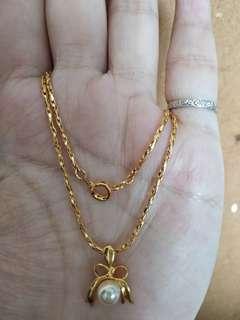 金屬頸鏈 項鍊 仿珍珠 metal necklace chain x2