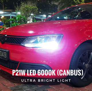 Day time running light DRL - P21W LED 6000k Canbus bulb replacement for VW Jetta, Scirocco, Hyundai Elantra AD.