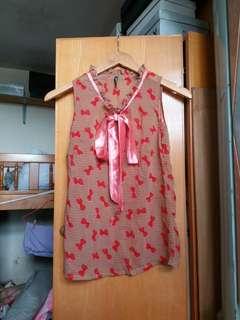 紅蝴蝶結透視衫