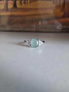 純銀翡翠 玉 戒指 介子 12號圈 925 silver jade ring (免費 送 1個純銀蛋白石 澳寶 歐泊 吊咀 墜飾 free 925 silver opal pendant)