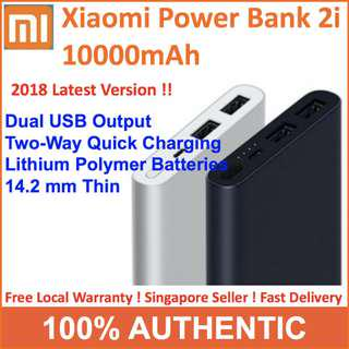2018 New 100% Authentic ♥ Xiaomi Gen 2i Power Bank Upgrade 2 USB Output Ultra Slim10000mAh ♥2 Ways Quick Charge