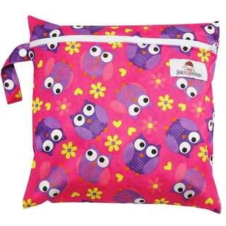 Multipurpose Single Zip with snap button Wetbag ~Purple Owl