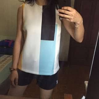 Zalora White Based Colorblock
