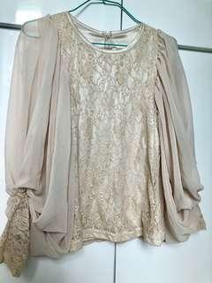 米色雪紡燈籠袖lace上衣