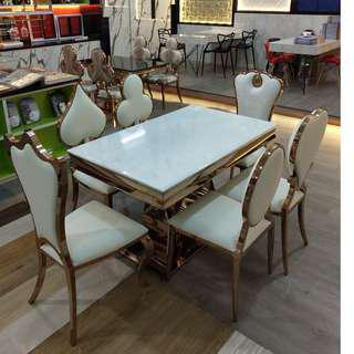 Mable Dinning table with rose gold chair(88668884)