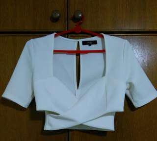 MDS White Crop Top with Slit Cut
