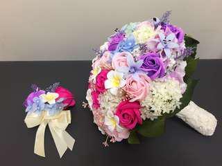 結婚花球+新郎襟花 香皂花