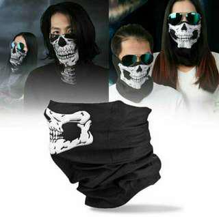 [ High Positive Rating ] Halloween Horror Skull Mask Skull Bandana Face Mask Scarf Air Force Skull Tubular Protective Dust Mask Bandana Motorcycle Riding Polyester Scarf Face Neck Warmer Mask