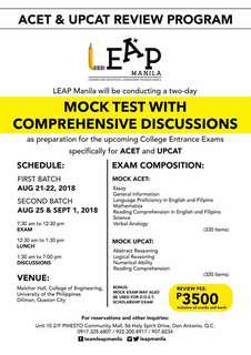 UPCAT and ACET Review (Mock Test with Discussion)