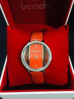 Braccialini 布奇里尼時尚水鑽手錶 腕錶 橘