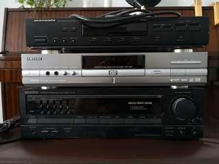 Marantz tuner, Samsung DVD, Kenwood amp