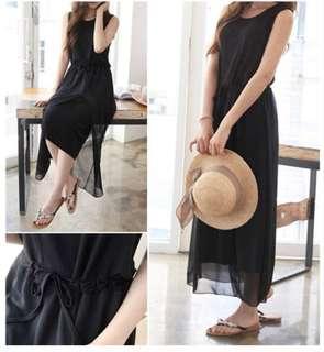 黑色連身長裙